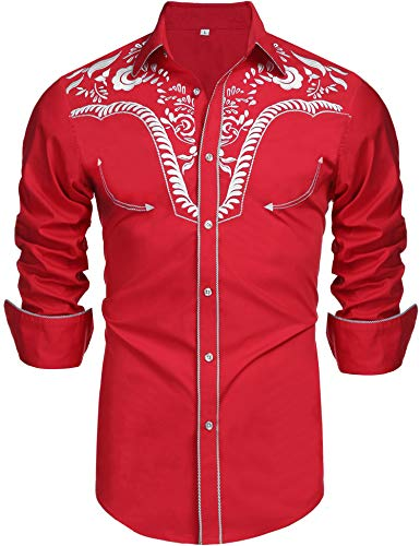 Daupanzees Men's Long Sleeve Embroidered Shirt Vaquero Slim Fit Western Casual Button Down Shirts(Red S) (Mens Western Shirts Red)