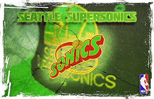 Seattle Supersonics NBA Basketball Art Grunge Wall Poster 28'' X 18'' by postteam