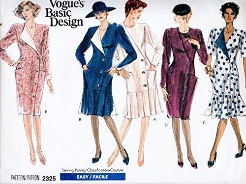 (Vogue 2325 Misses 1989 Dress, Vintage Sewing Pattern Size 12-14-16)