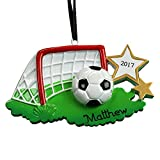 GiftsForYouNow Soccer Net Personalized Ornament, Resin