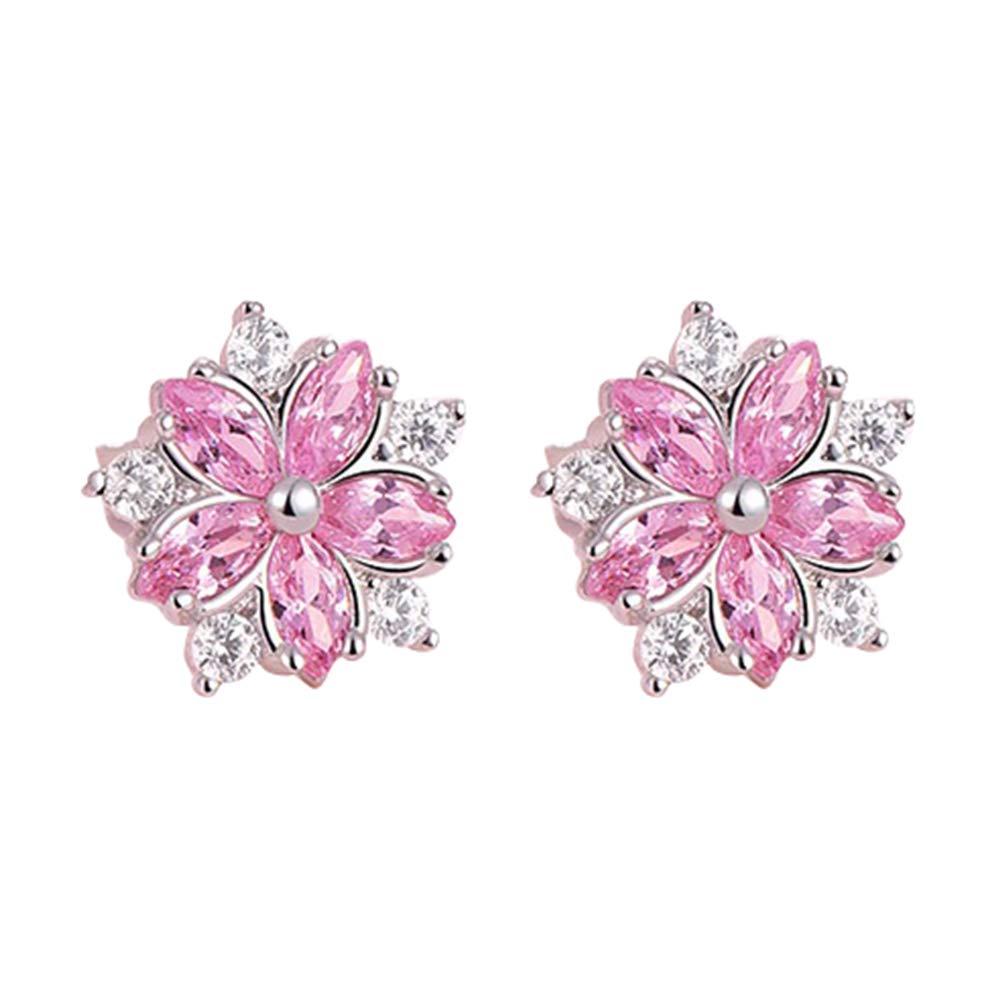 Polytree Earrings Cherry Blossom Flower Rhinestone Inlaid Jewelry Gift for Women Girls