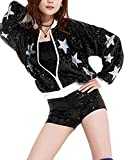 KLJR-Women Sequin Zipper Long Sleeve Jacket Coat Outwear Black OS