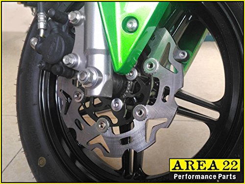 Area 22 Kawasaki Z125 Pro Front Disc BLACK by AREA
