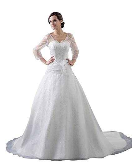 Beauty Emily Tulle Long Sleeve Sequins Train Wedding Dress At Amazon