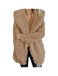 WOCACHI Womens Lapel Shift Coat Faux Artificial Wool Warm Jacket Winter Outerwear