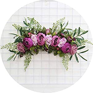 Li-Never Artificial Flower Wreath Door Threshold Wedding Decor Home Party Pendant Flower Wall Christmas Garland Gift Rose Peony Plant,A 8 105