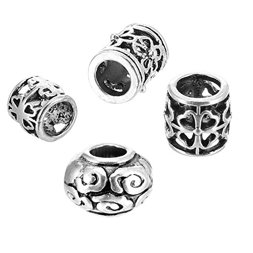 Braid Silver Earrings - Pangda 40 Pieces Hair Tube Beads Dreadlocks Beads Hair Braiding Jewelry Hair Decoration Accessories, 4 Styles, Tibetan Silver