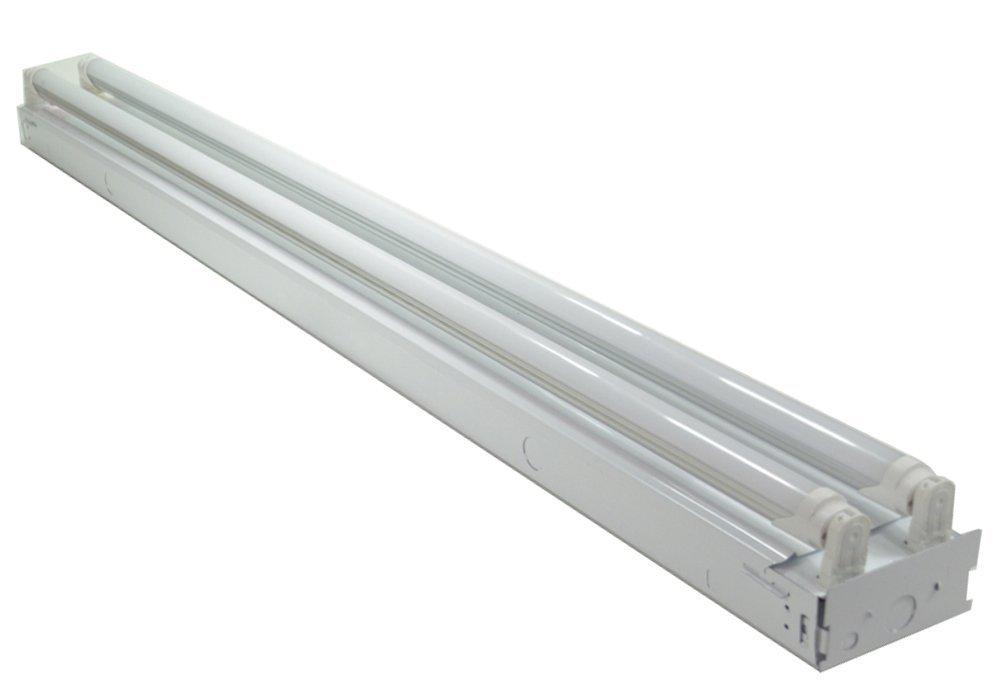 White 48 Watt 4 ft 2-light Flush Mount Ceiling Light Fixture with 2x LED T8 24 Watt Tubes - 6500K - 30% Brighter than 18w LEDs