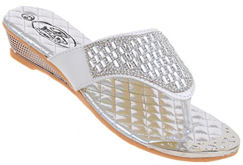 Fourever Funky Crystal Jeweled Silver Slide Thong Flip Flop Wedge Sandals - 6