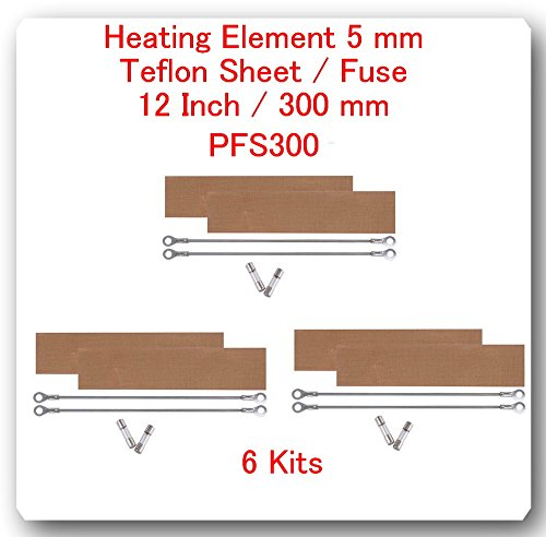 (6 Kits) Replacement Elements for Impulse Sealer PFS-300 12