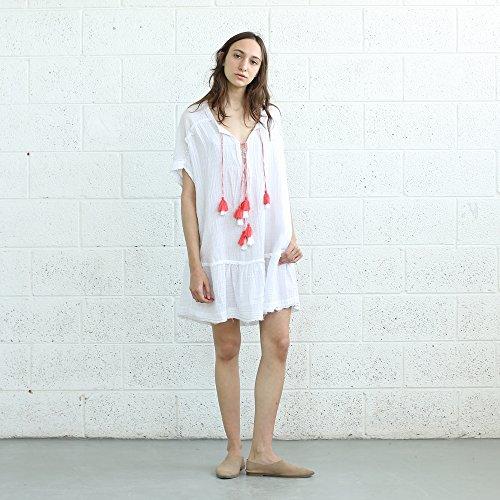 Pon-Pon Dress , V Neck Tassel Trim Dress ,TASSEL Dress. by Naftul