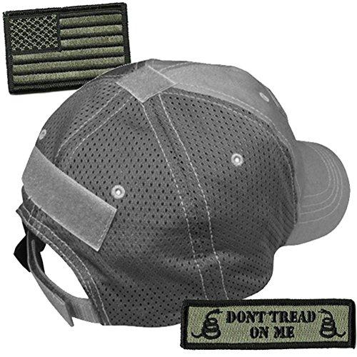 Gadsden and Culpeper Operator Cap Bundle - w USA/Dont Tread Patches (Graphite Cap - - Mesh Rangers