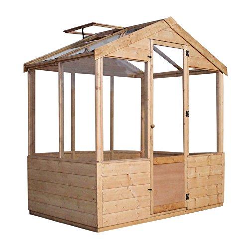 4x6 Evesham Wooden Greenhouse - Shiplap T&G, Shatterproof Glazing - By Waltons
