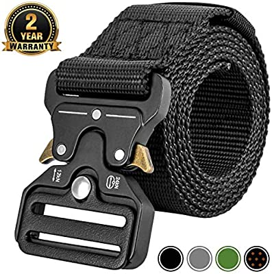 MOZETO Military Style 1.5 Inches Durable Nylon Web Belt 2020 New Quick-Release Heavy-Duty Metal Buckle Suitable for Waist 30-60 Black, XXL Waist 53-60 Width 1.5 Tactical Belt