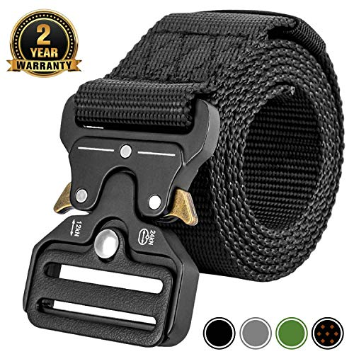 MOZETO Tactical Belt, Military Style 1.5 Inches Durable Nylon Web Belt, Quick-Release Heavy-Duty Metal Buckle Rigger Cobra Belt, Suitable for Waist 30