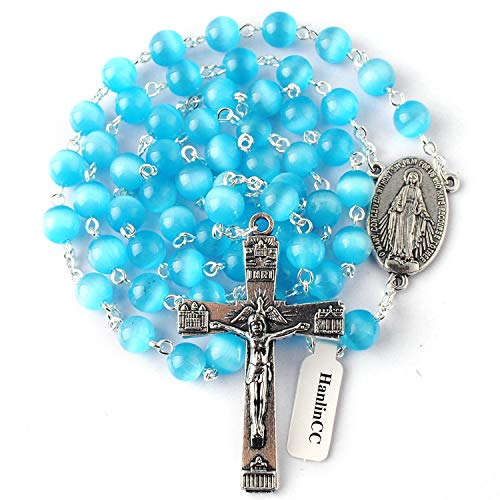 (HanlinCC 8mm Light Blue Cat Eyes Beads Rosary Necklace with Miraculous Center Piece and Crucifix with Leather Gift Box)