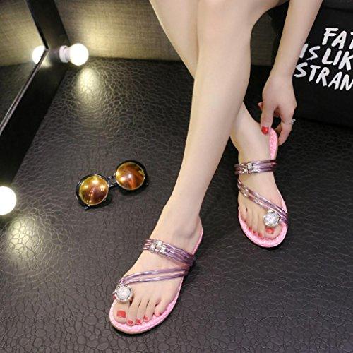 Ouneed® Flip Flops Damen Erwachsene Zehentrenner , Damen arbeiten Sommer flachen Flip Flops Sandalen Slipper Böhmen Schuhe Rosa