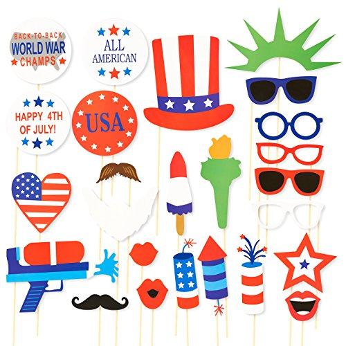 Party Photo Booth Props - 25-Pack Patriotic Party Supplies, Selfie Props, American Flag Party Favors for 4th of July Parties, Memorial Day, Veteran's Day Events -