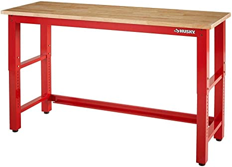 6 Ft Adjustable Height Solid Wood Top Workbench In Red Kitchen Dining