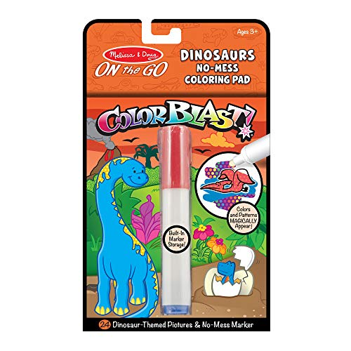 Melissa & Doug On the Go ColorBlast No-Mess Coloring Pad, Dinosaur (24 Color-Reveal Pictures, Invisible Ink Marker, Great Gift for Girls and Boys - Best for 3, 4, 5, 6, 7 and 8 Year Olds)