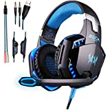 COLOR-V Gaming Headset for Ps4, Pc,Xbox One,Laptop,Switch(Audio) and So On with Soft Breathing Earmuffs,Comfortable Mute & Volume Control,LED Lights,Noise Cancelling Mic(Black and Blue)