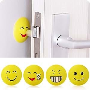 4PCS Caras de la sonrisa de goma de puerta del botón pegatina de pared protectora del protector de la almohadilla Pomo crash pad deja de auto-adhesivo de pared para puertas de protección del tapón