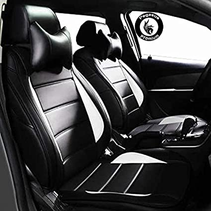 PegasusPremium Pu Leather Car Seat Cover Black White For Maruti S Cross