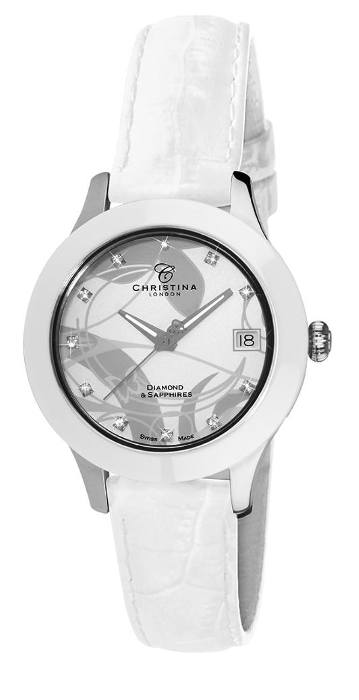 Christina Design London Keramik Dream Damen Quarzuhr mit weißem Zifferblatt Analog-Anzeige und Weiß Lederband c