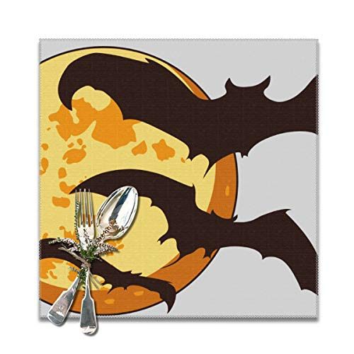 Ph-shb Bat Cute Halloween.png Placemats PVC Dining Table Mats Washable Heat-Resistant Polyester Kitchen Mats Set of 6]()
