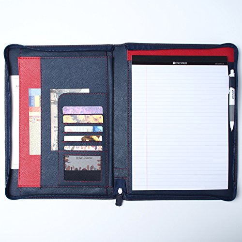 AHZOA 8 Pockets A4 Size Memo Padfolio S5 with Mechanical Pencil, Including 8.27 X 11.7 Inch Legal Writing Pad, Zip-up Style, Synthetic Leather Handmade 10.24 X 13.78 Inch Notepad Clipboard - Leather Legal Style