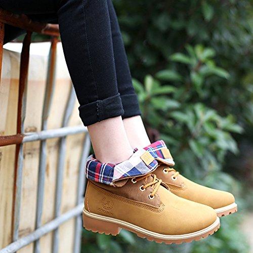 Minetom Zapatos Botas Martin Otoño Mujer Cordones De Zapatos Calentar de Boots Zapatos Botines Amarillo Invierno Botas Trabajo Nieve de gqrgOzxY