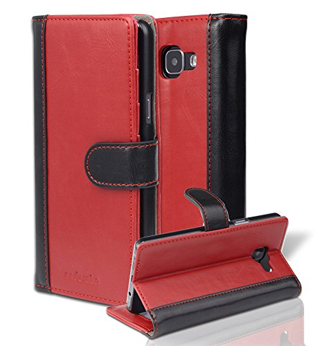 Cadorabo Case Works with Samsung Galaxy A5 2016 (6) Book Case in RED Black (Design Bicolor) - with Magnetic Closure, Stand Function and Card Slot - Wallet Case Etui Cover Pouch PU Leather Flip