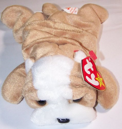 TY Beanie Babies Wrinkles the Bull Dog Stuffed Animal Plush Toy - 7 inches long - Brown - Style 4103