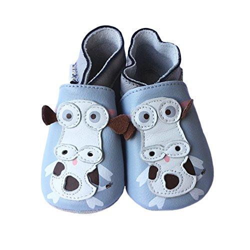 Lait et Miel - Patucos de piel para bebé con diferentes diseños azul Eichhörnchen Talla:6-12 meses vaca