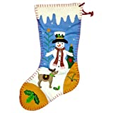 Snowman with A Heart Holiday Christmas Full Sized Stocking 18 Inch