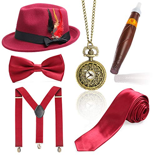 Beelittle 1920s Mens Gatsby Accessory Set Trilby Manhattan Fedora Hat, Y-Back Suspenders, Gangster Ties (K) -