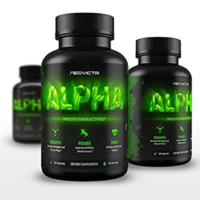 Best Testosterone Booster - All Natural Male Enhancement - Alpha by Neovicta - Improve Size, Strength, Energy, Libido & Athletic Performance - Liver & Kidney Aid - 60 Count