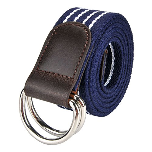Faleto Canvas Web Belt Double D-ring Buckle Military Style Striped Belts for Men Blue