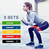 Resistance Loop, Lintelek Resistance Exercise Bands with Instruction Guide for Stretching Pilates, CrossFit in Natural Latex, Carry Bag, Set of 5 with power(5lb- 20lb)