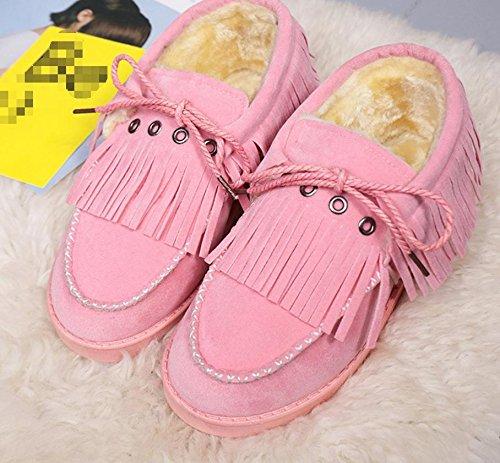 pan de zapatos la 60cm gruesos NSXZ cargadores botas 76 botas de invierno de zapatos algodón de los con flecos del desnudo cordones calientes borla de xZAqxUwBz