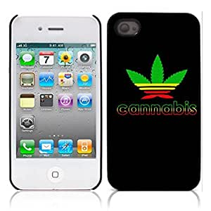Marijuana Kush Weed Hard Plastic and Aluminum Back Case for Apple iphone 4 4S