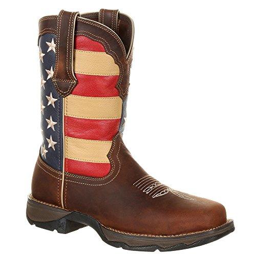 Durango Lady Rebel Steel Toe Patriotic Flag Work Boot Brown