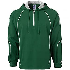Russell Athletic Men's Team Prestige Quarter Zip Windbreaker Jacket Green White (Large)