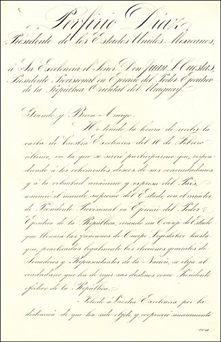 President Porfirio Diaz (Mexico) Manuscript Letter Signed 04/27/1898 with co signers