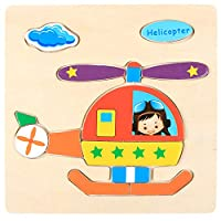 Educational Wooden Puzzle for Kids Animal and Vehicle Patterns - Helicopter