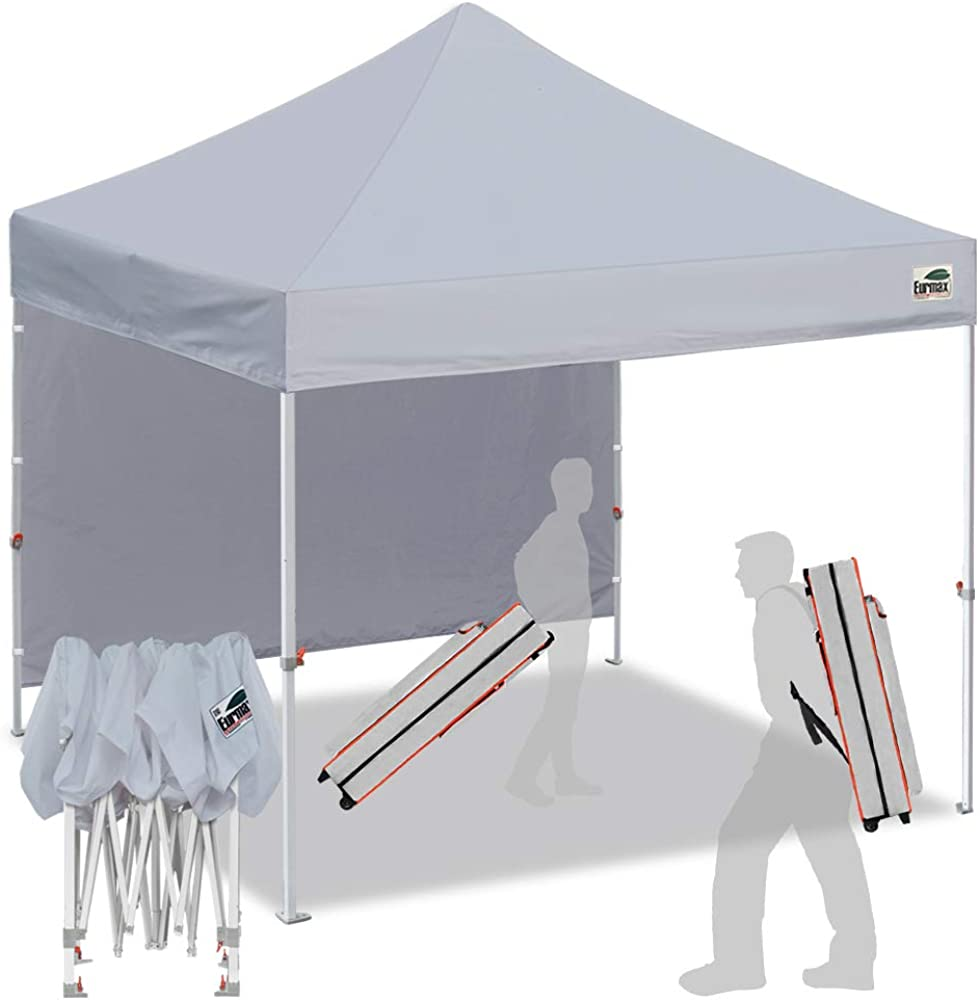 Eurmax Smart 10 x10 Pop up Canopy Tent Outdoor Festival Tailgate Event Vendor Craft Show Canopy Instant Shelter with 1 Removable Sunwall and Backpack Roller Bag