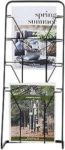 LQQGXLMagazine Shelf Storage Holder Entrance Channel Wrought Iron Magazine Rack Rack Floor Free Standing Newspaper Rack Basket Newspaper Holder (Color : Black)