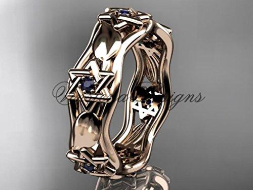 14kt rose gold Star of David ring, jewish ring, leaf and vine wedding band VH10014B (Leaf Vine Star)