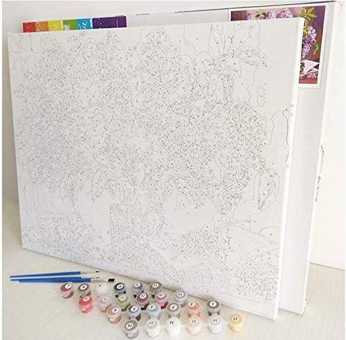 MCZQT Peinture de Chat par Numéro Kits Animaux Bricolage Toile Peinture à l'huile par Numéro avec Cadre en Bois pour Chambre 60X75 Cm Cadre de Bricolage
