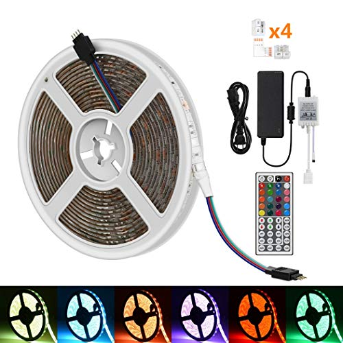 (iRofa 5M LED Strip Light 300 leds 5050 SMD RGB Color Changing Waterproof 16.4ft LED Light Strip with 4 Set Corner Connector Flexible Rope Light,44Key IR Remote 12V/5A Power Adapter Decoration Lighting)